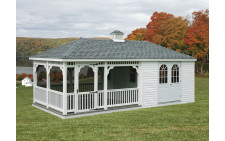 12'x24' Vinyl Pool House with Screened Porch
