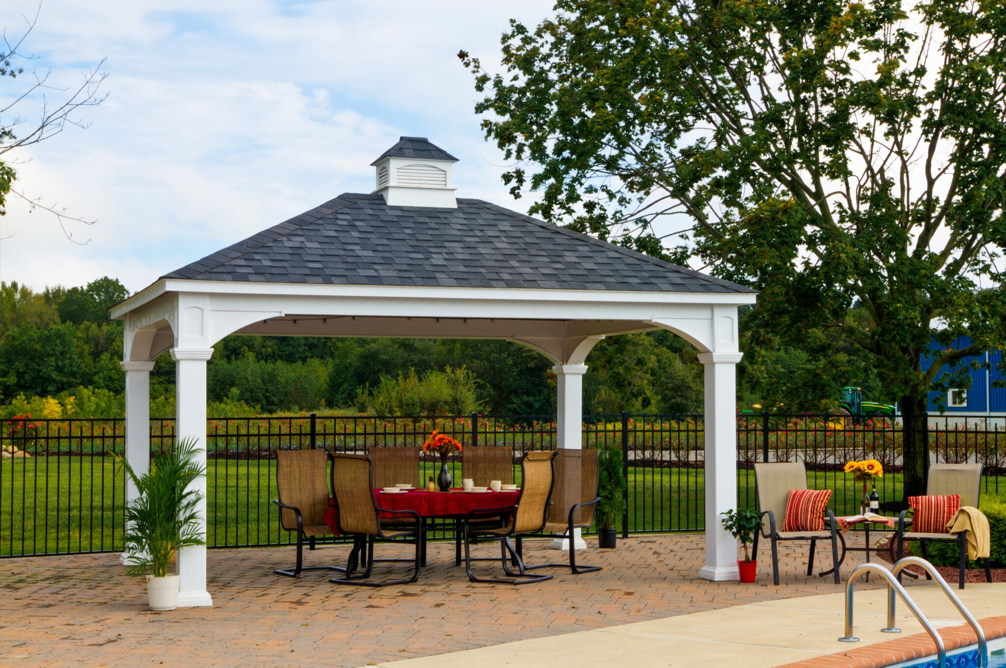 12x16vinylpavilion.html-442-12'x16' Traditional White Vinyl Pavilion - 8x8 Posts - Cupola - Asphalt Shingles  (4)_preview.jpeg