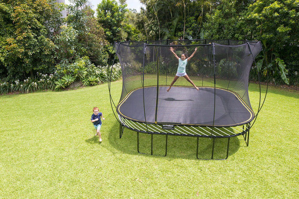 Springfree 13 39 x 13 39 jumbo square smart trampoline with for Springfree trampoline